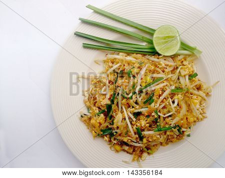 Thai Food Pad Thai, Pad Thai, Stir-fried Rice Noodles With Tofu. The One Of Thailand's National Main