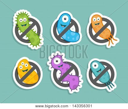 Antibacterial sign with colorful bacteria. Isolated vector illustration