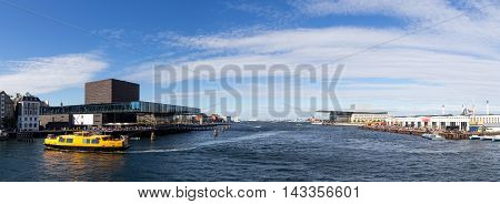 Copenhagen, Denmark - August 17, 2016: View of the harbor with the playhouse, opera and paper island