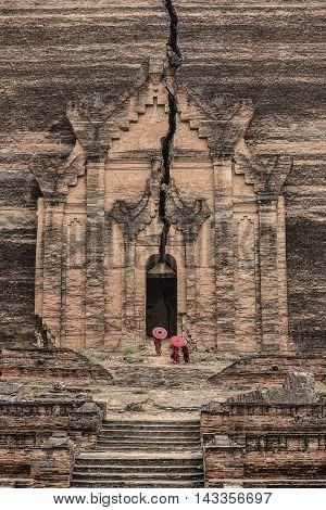 Buddhist novice at Mingun Pahtodawgyi (Mingun Paya) Myanmar