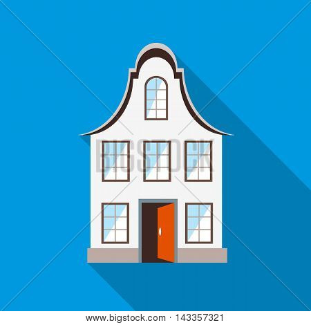 Front of house icon in flat style with long shadow