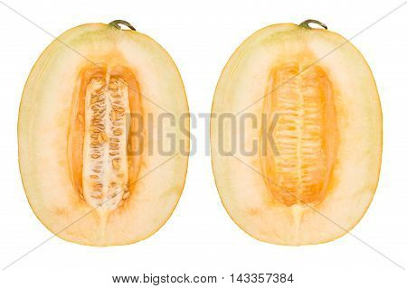 Half of cantaloupe melon isolated on the white background. Top view.
