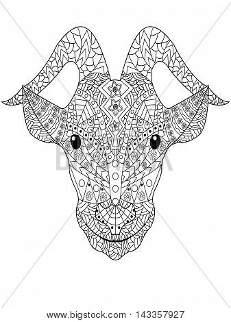 Goat head coloring book for adults vector illustration. Anti-stress coloring for adult. Zentangle style. Black and white pattern
