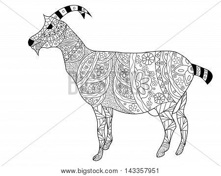 Goat coloring book for adults vector illustration. Anti-stress coloring for adult. Zentangle style. Black and white pattern