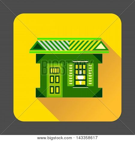 Green house icon in flat style with long shadow