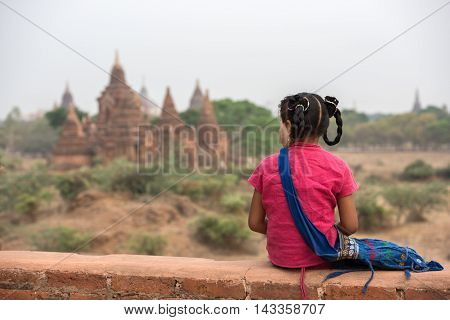 Portrait Burmese girl at Old Bagan Myanmar