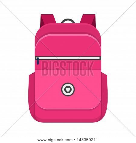 Backpack isolated on white background. School bag handle strap sack in flat style. Pink schoolbag supplies educational