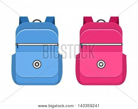 Backpack isolated on white background. School bag handle strap sack in flat style. Blue and pink schoolbag icons supplies educational