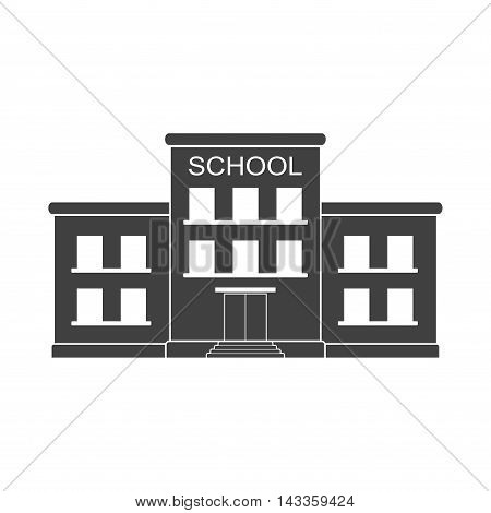 Classical school building icon isolated on white background. Front yard. Building school icon for city construction education vector in flat style