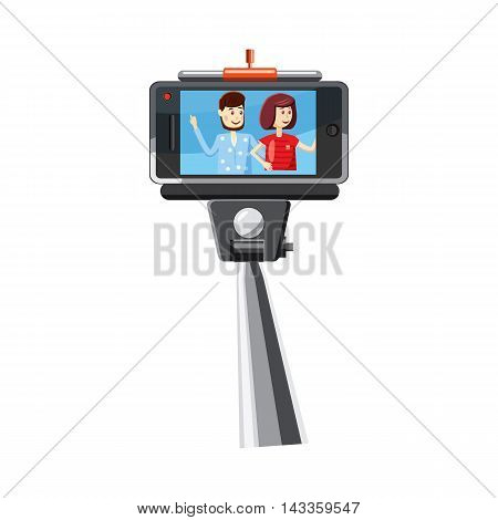 Young couple taking selfie photo together with a stick icon in cartoon style on a white background