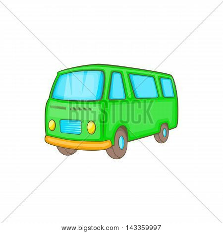 Classic van, retro style icon in cartoon style on a white background