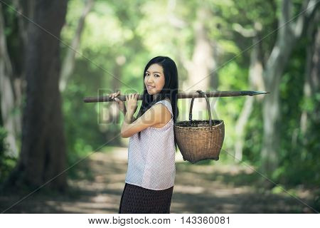 Thai local woman working countryside of Thailand