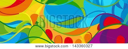 Rio 2016 abstract colorful Olympics background. Rio de Janeiro 2016 Brazil pattern. Summer Athletic Sport Brazil. Olympics Game. Vector illustration for Art, Print, web design, advertising.