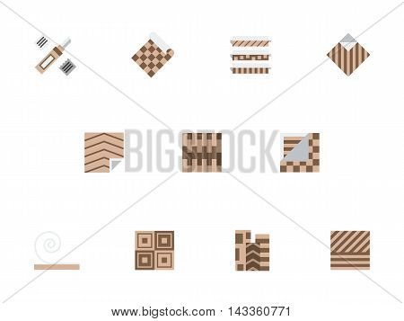 Floor material store. Rolls of linoleum, samples with different texture and pattern, flooring tools. Items for construction and renovation. Brown flat color style vector icons set.