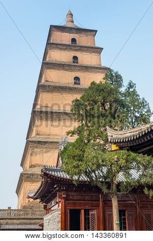 Giant Wild Goose Pagoda or Big Wild Goose Pagoda is a Buddhist pagoda in Xian Shaanxi Province China.