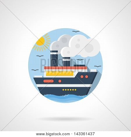 Passenger cruise liner with steam, clouds with sun and seagulls on a background. Steamship, sea vessel. Mode of transport theme. Round detailed flat color style vector icon.