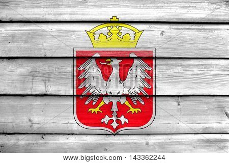 Flag Of Gniezno, Poland, Painted On Old Wood Plank Background