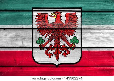 Flag Of Gorzow Wielkopolski With Coat Of Arms, Poland, Painted On Old Wood Plank Background