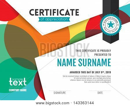 Modern certificate appreciation vector photo bigstock modern certificate of appreciation template with colorful circles background design yelopaper Choice Image