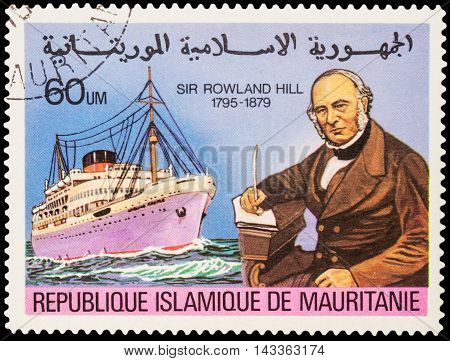 MOSCOW RUSSIA - AUGUST 19 2016: A stamp printed in Mauritania shows passenger ship series