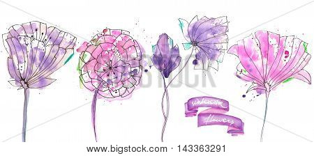 Collection, set with isolated pink and purple abstract flowers painted in watercolor with blots on a white background
