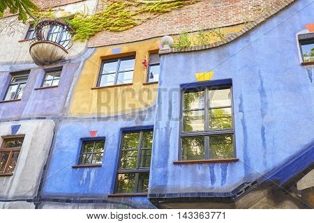 Vienna, Austria - August 15, 2016: Details Of The Hundertwasserhaus Facade, An Apartment Building Bu