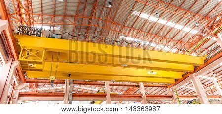 overhead travveling crane in a construction hall