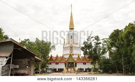 White pagoda in a temple thailand in Chiang Mai.