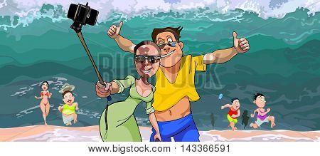 cartoon selfie tourists do on the background of the tsunami