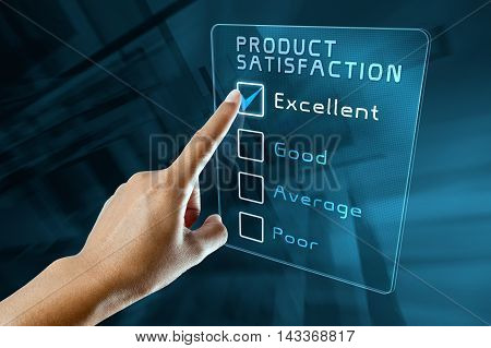 hand clicking online customer product satisfaction survey on virtual screen interface