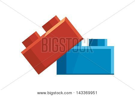 vector illustration of Constructor accessory. Color bricks isolate on white background. Icon in modern flat style for web or Game UI.