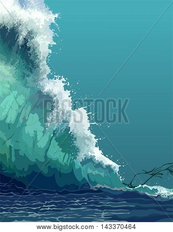 painted backdrop of a giant tsunami wave