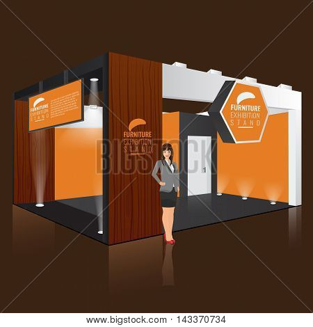 Creative exhibition stand display design with info board. Booth template. Corporate identity. Vector Display Mock-up. Business lady woman standing beside