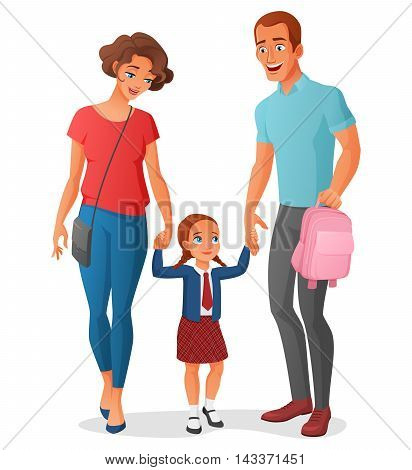 Young little girl in school uniform is going to school at the first time with her parents holding hands. Cartoon vector illustration isolated on white background.