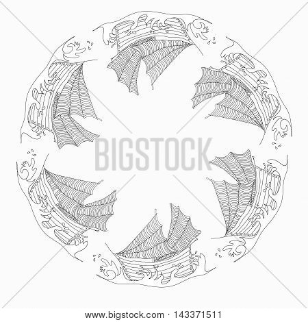Vector illustration with uncolored ships. Circle pattern. Adult coloring book.