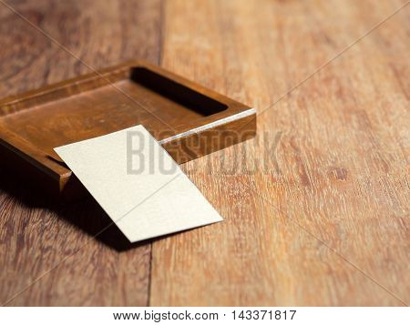 Wood salver and Paper Notes. on the wood table.