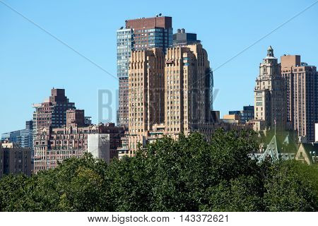 New York City buildings and central park trees view from a roof