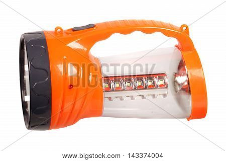 Orange flashlight isolated on a white background