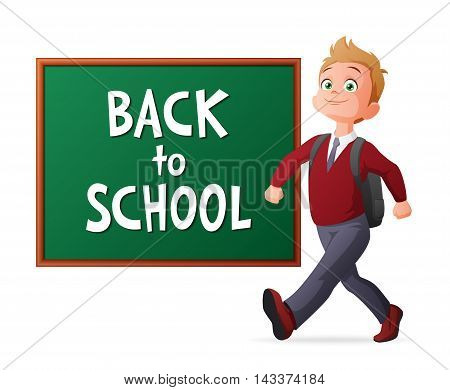 Back to school. Proud and cheerful pupil in school uniform walking next to blackboard. Cartoon vector illustration isolated on white background.
