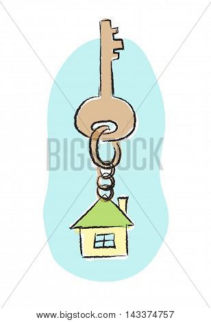 Sketch style illustration with key and house tag