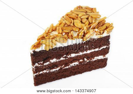 chocolate cake with almond dessert on background