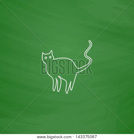 Evil Cat Outline vector icon. Imitation draw with white chalk on green chalkboard. Flat Pictogram and School board background. Illustration symbol