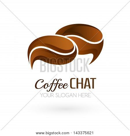 Coffee chat logo template. Speech bubble symbols look like coffee beans. Vector icon for forums chats blogs or other web services.