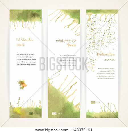Set of hand painted watercolor vertical banners. Colorful abstract green yellow and orange brush stocks and splashes on a white backgrounds. Modern style graphic design template. Marketing concept.