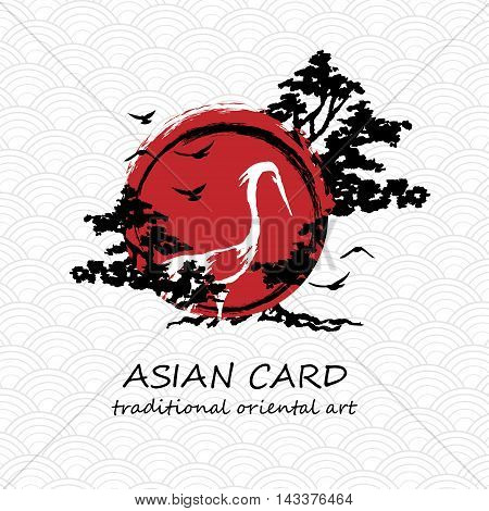 Crane with tree branches and red sun in black enso zen circle hand drawn with ink in traditional japan or china painting style. Vector illustration.