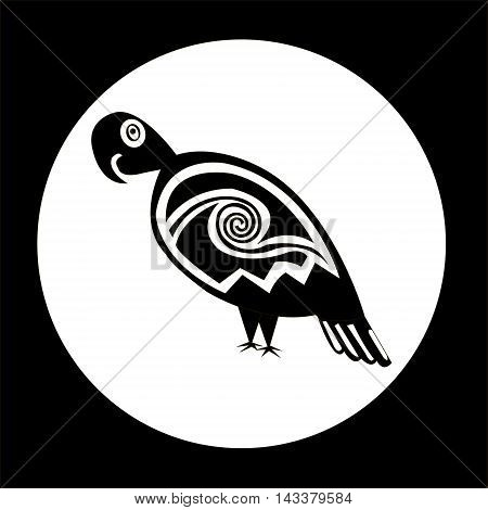 A parrot -stylized graphics. Ethnic pattern of American Indians: Aztecs, Mayans, Incas. drawing in the Mexican style. Vector illustration.