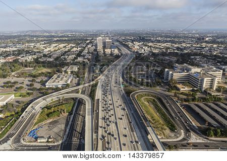 Los Angeles, California, USA - August 6, 2016:  Aerial view of the San Diego 405 Freeway at Wilshire Blvd in West LA.