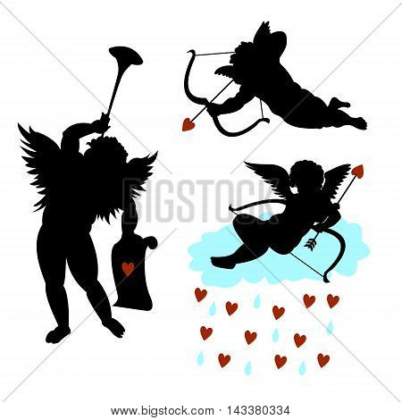 A set of silhouettes of angels cupids with bow and arrow, trumpet, and on the cloud with hearts. On a white background. Concept - love. Vector illustration.