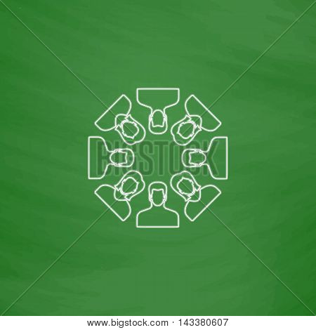 Teamwork Outline vector icon. Imitation draw with white chalk on green chalkboard. Flat Pictogram and School board background. Illustration symbol