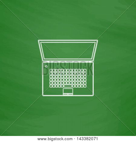 netbook Outline vector icon. Imitation draw with white chalk on green chalkboard. Flat Pictogram and School board background. Illustration symbol